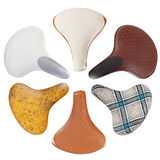 Vintage bicycle saddles collection Royalty Free Stock Photo