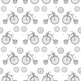 Vintage Bicycle Seamless Vector Background. Retro Bike Black White Pattern Stock Image