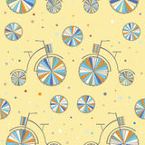 Vintage Bicycle Seamless Vector Background. Retro Bike Color Pattern Royalty Free Stock Photo
