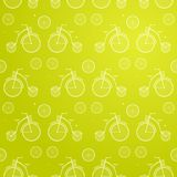 Vintage Bicycle Seamless Vector Background. Retro Bike Yellow Pattern Royalty Free Stock Photos