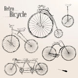Vintage bicycle set Royalty Free Stock Images