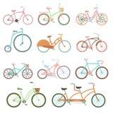 Vintage bicycle set riding bike transport flat vector illustration. Stock Image