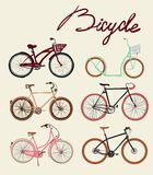 Vintage bicycle Set. Vector illustration. Stock Photos