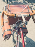 Vintage bicycle with touring bags top view Stock Images
