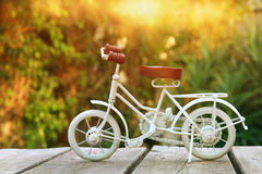 Vintage bicycle toy waiting outdoors in the garden Stock Photo