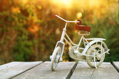 Vintage bicycle toy waiting outdoors in the garden Royalty Free Stock Image