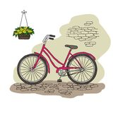 Vintage bicycle. Vector illustration. Royalty Free Stock Photos
