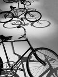 Vintage bicycles in black and white. Bicycles with light and Stock Images