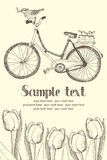 Vintage bicycles and flowers card Royalty Free Stock Photography