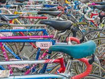 Vintage bicycles nicely parked Royalty Free Stock Images
