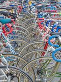 Vintage bicycles nicely parked Stock Photo
