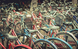 Vintage bicycles picture style. Urban old bicycle, Service and Bicycle rental Royalty Free Stock Image