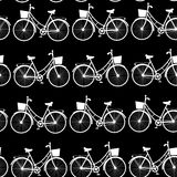 Vintage bicycles, seamless pattern black and white. vector Stock Image