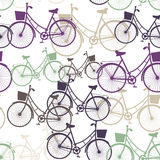 Vintage bicycles seamless pattern, pastel colors. Vector Royalty Free Stock Photos