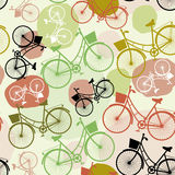 Vintage bicycles, , seamless pattern, pastel green brown beige colors Stock Photos