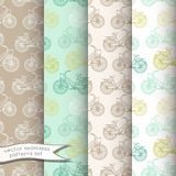Vintage bicycles seamless patterns set Royalty Free Stock Photo