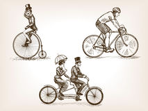 Vintage bicycles sketch vector illustration Royalty Free Stock Image