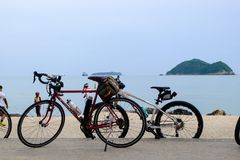 Vintage bicycles at Songkhla. Songkhla, Thailand - october 27, 2017 Vintage bicycles at Songkhla Lake against sea background Royalty Free Stock Image