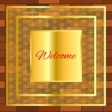 Vintage bienvenu de mur de briques d'or d'enseigne illustration stock