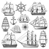 Vintage Big Ships Collection. With different vessels boats steering wheel anchor and navigational compass isolated vector illustration Stock Photo