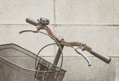 Vintage bike basket and handle Stock Photo