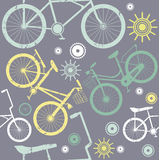 Vintage bike elements seamless pattern with grey bacground Stock Photos