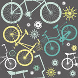 Vintage bike elements seamless pattern with grey background  Royalty Free Stock Images