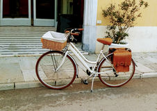 Vintage Bike For Picnic Stands Near The Brick Wall Of Italian City. Royalty Free Stock Photo