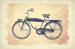 Vintage bike over old paper grunge background with delicate abstract canvas texture. Royalty Free Stock Photo