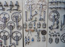 Vintage bike parts on display at L'Eroica, Italy Stock Images