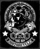 Vintage Biker Skull With Crossed Piston Emblem Stock Images