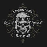 Vintage Biker Skull. On a dark background. Royalty Free Stock Photo