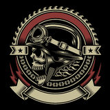 Vintage Biker Skull Emblem Royalty Free Stock Photography