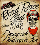 Vintage Biker Skull Emblem Stock Photo