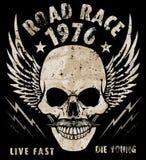 Vintage Biker Skull Emblem Tee Graphic Stock Image