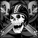 Vintage Biker Skull Emblem vector royalty free illustration