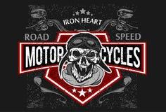 Vintage Biker Skull, t-shirt prints, emblems. Royalty Free Stock Image