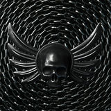Vintage Biker Skull with Wings and metal chain on background. 3d. Render Royalty Free Stock Photos