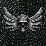 Vintage Biker Skull with Wings and metal chain on background. 3d Royalty Free Stock Photos