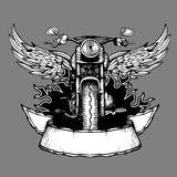 Vintage biker vector label, emblem, logo, badge with motorcycle. Motorbike with wings illustration Royalty Free Stock Images