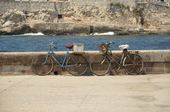 Vintage Bikes. Vintage Bicycles Near the Old Fortress in Havana, Cuba Stock Photography
