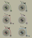 Vintage bikes icon set Royalty Free Stock Image