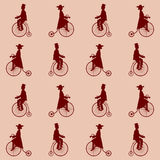 Vintage bikes, lady and gentleman Royalty Free Stock Photos