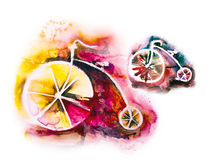 Vintage bikes. Set of colorful vintage bikes watercolor illustration vector illustration