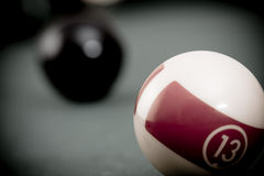Vintage billiard. Balls on green table Royalty Free Stock Photos