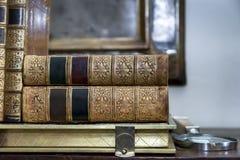 Vintage  Bind Books. Closeup. Royalty Free Stock Photo