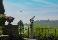 Vintage Binocular. Historical Binoculars on Balcony Garden royalty free stock images