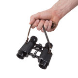 Vintage binocular in mans hand Royalty Free Stock Photography