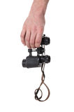 Vintage binocular in mans hand Stock Photo