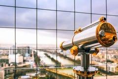 Vintage binocular overlooking for Paris, France. royalty free stock image